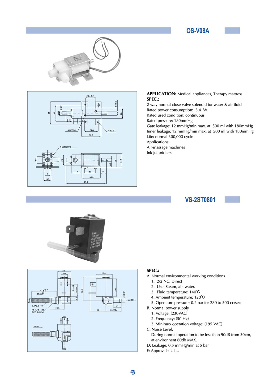 DC 2-way normal close solenoid OS-V08A for use with medical appliance, therapy mattress